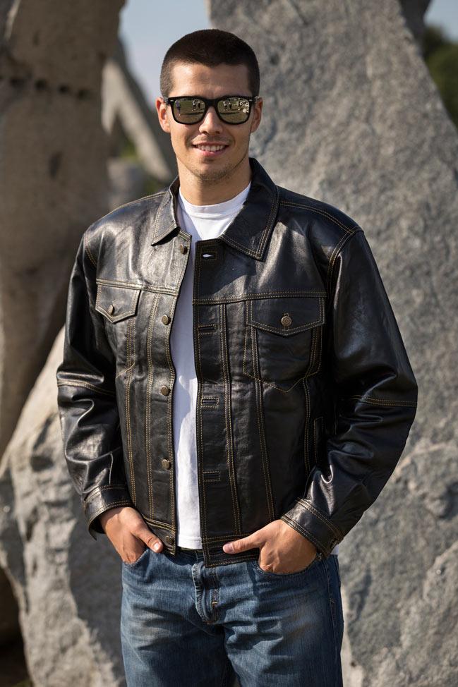 Muška kožna jakna - Lewis - Crna