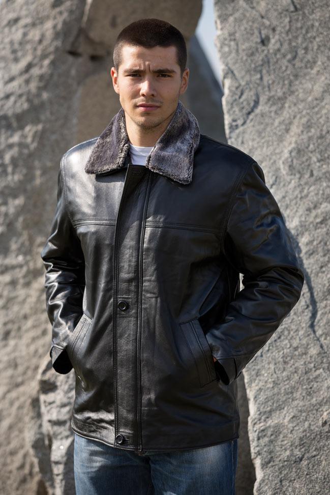 Muška kožna jakna - Luciano JK - Crna