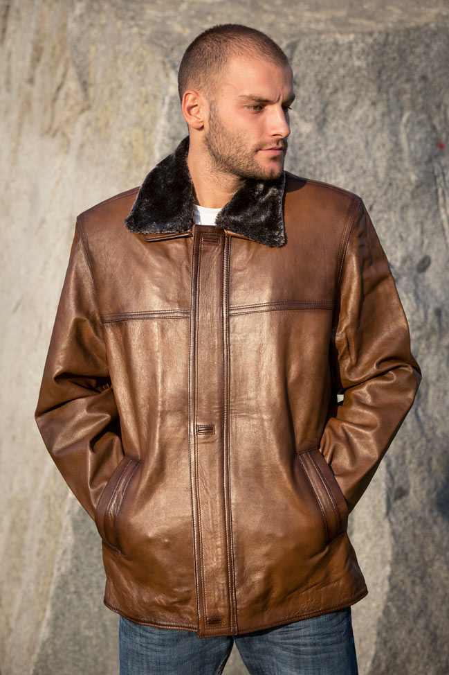 Muška kožna jakna - Luciano - Svetlo braon melirana