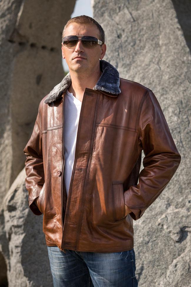 Muška kožna jakna - Luciano - Tamno braon melirana