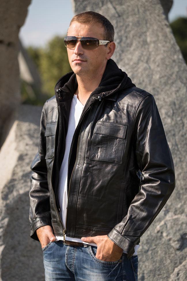 Muška kožna jakna - Maddox - Crna