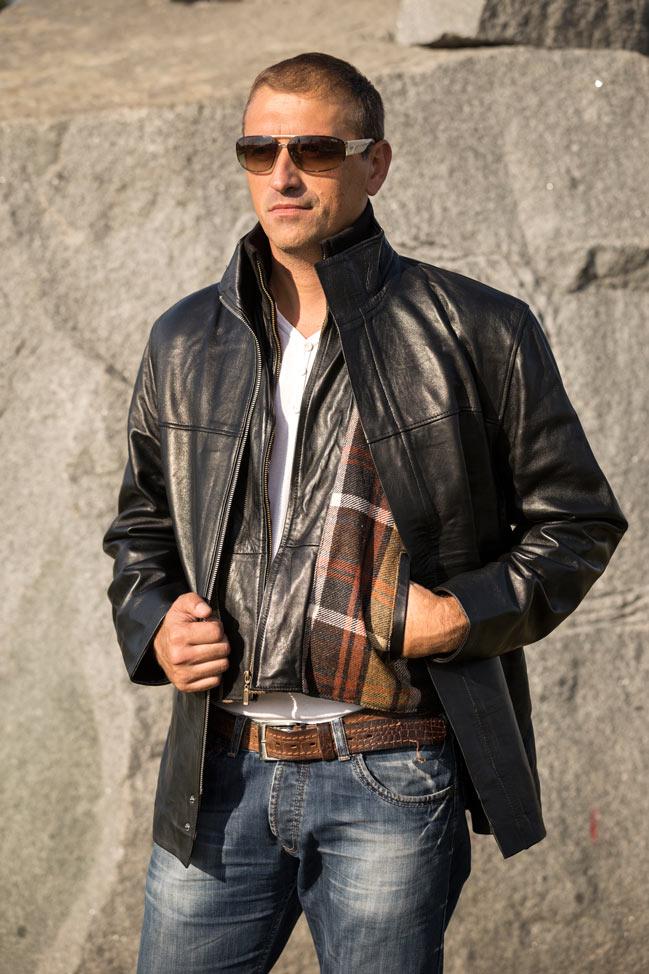 Muška kožna jakna - Marcos - Crna