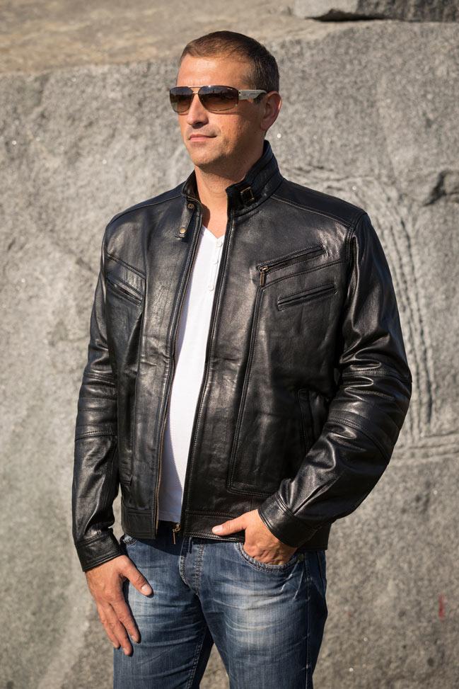 Muška kožna jakna - Morris - Crna