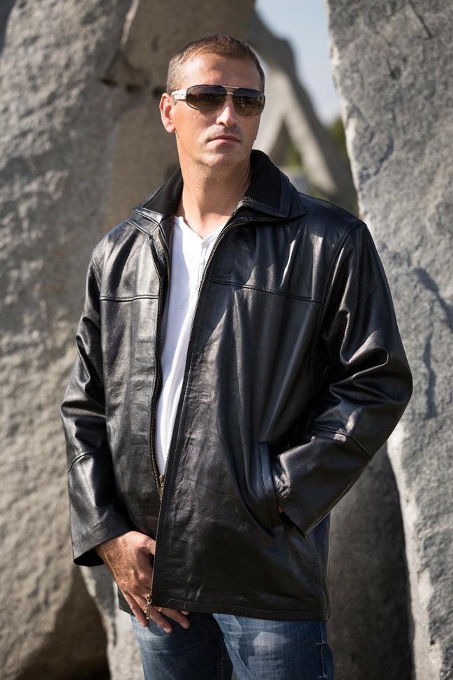 Muška kožna jakna - Philippo - Crna