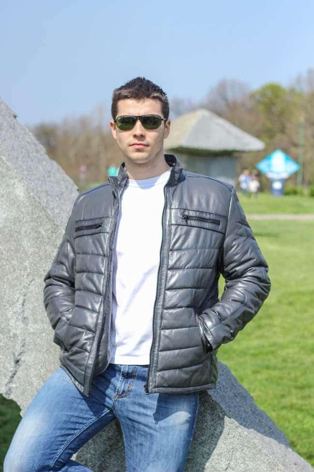 Muška kožna jakna - Roberto - Siva