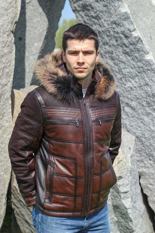 Muška kožna jakna sa krznom - Bronson - Tamno braon melirana