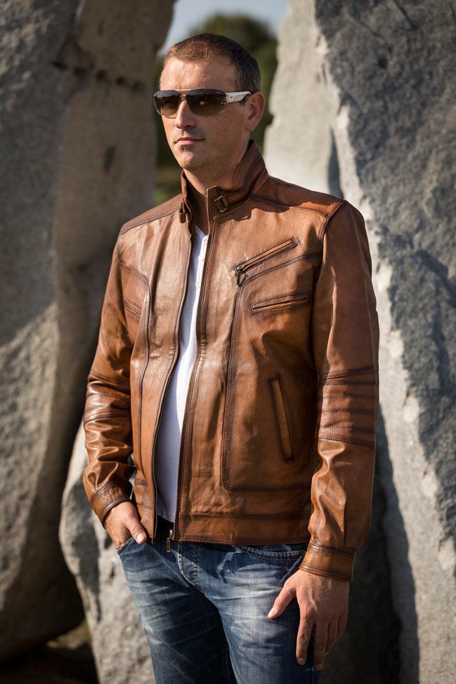 Muška kožna jakna - Morris - Svetlo braon melirana