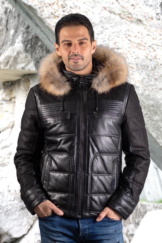 Muška kožna jakna sa krznom - Bronson - Crna