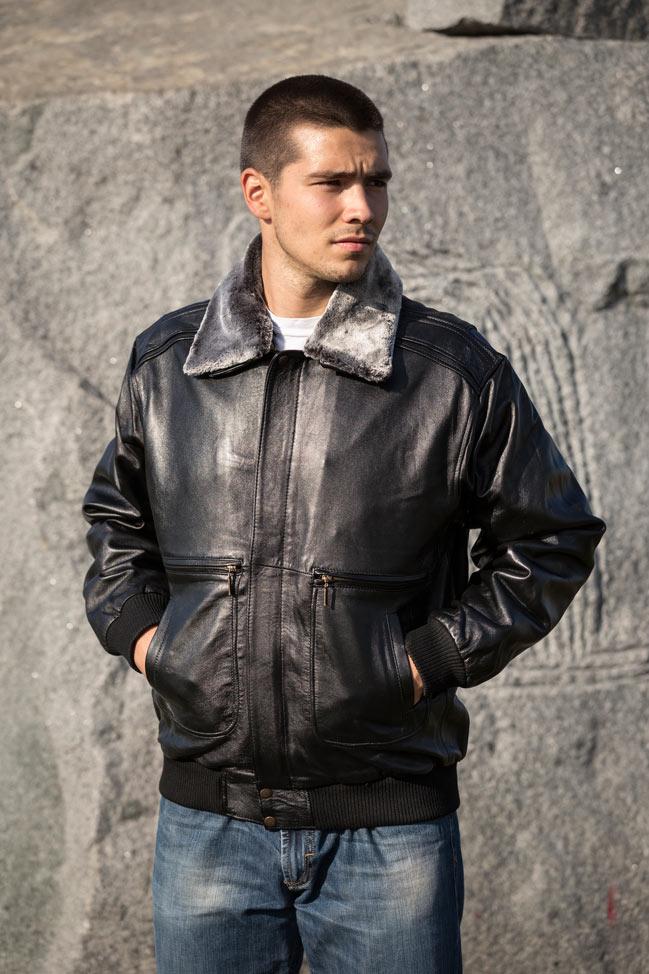 Muška kožna pilotska jakna - Cruise - Crna