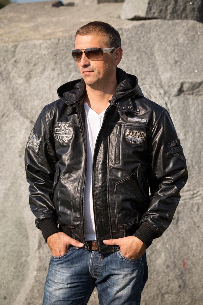 Muška kožna pilotska jakna - Dallas - Crna