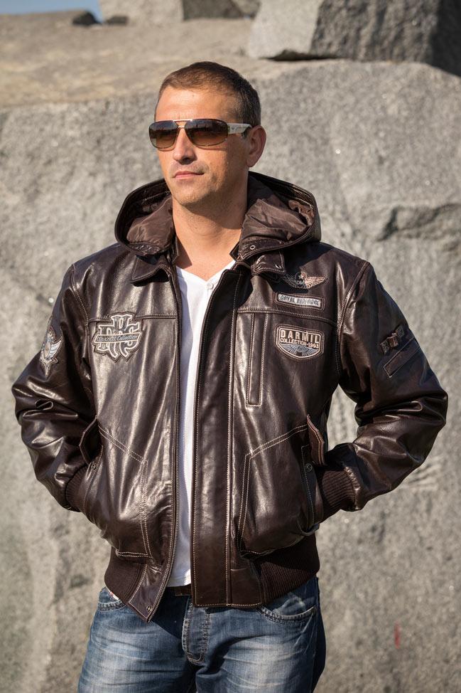 Muška kožna pilotska jakna - Dallas - Tamno braon