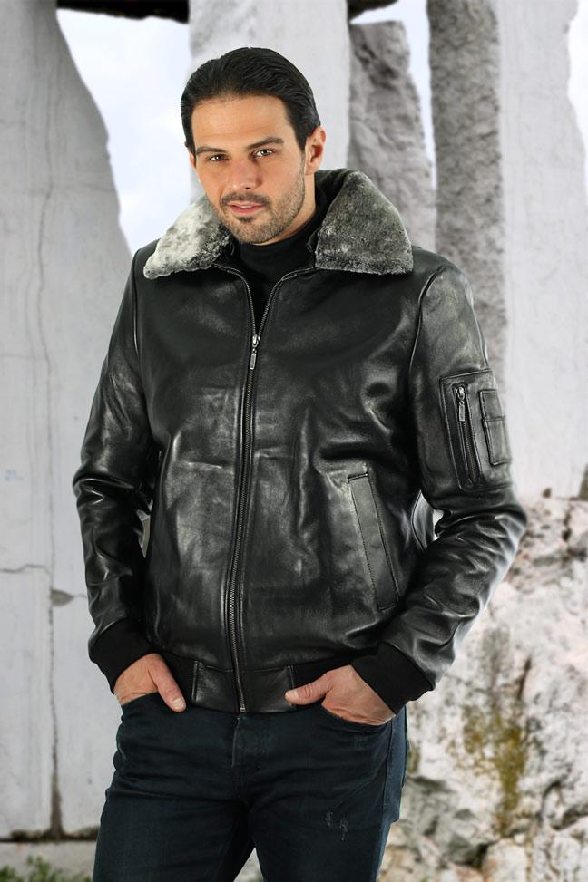 Muška kožna pilotska jakna - Gordon JK - Crna