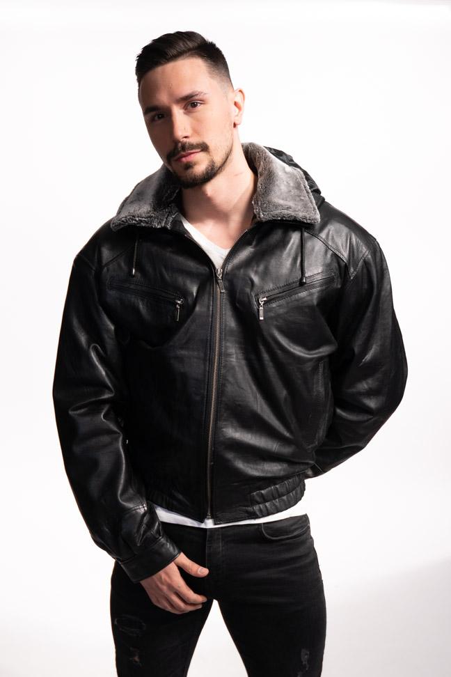 Muška kožna jakna - Bokserica - Marciano JK - Crna