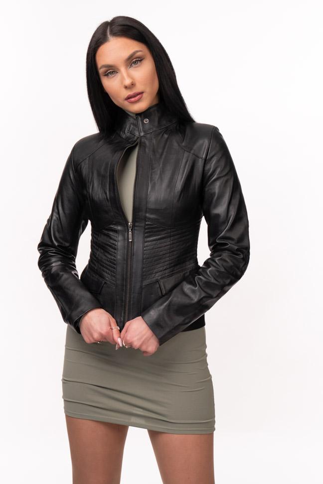 Ženska kožna jakna - Julia - Crna