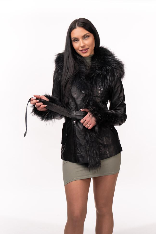 Ženska kožna jakna sa krznom - Isabella - Crna, crno krzno