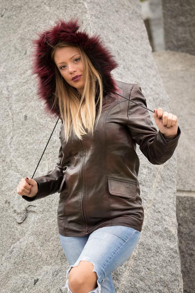 Ženski kožni mantil - Betty - Braon melirana