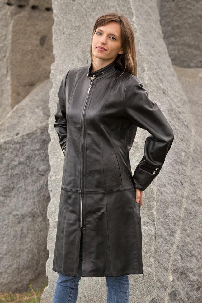 Ženski kožni mantil - Katarina - Crna