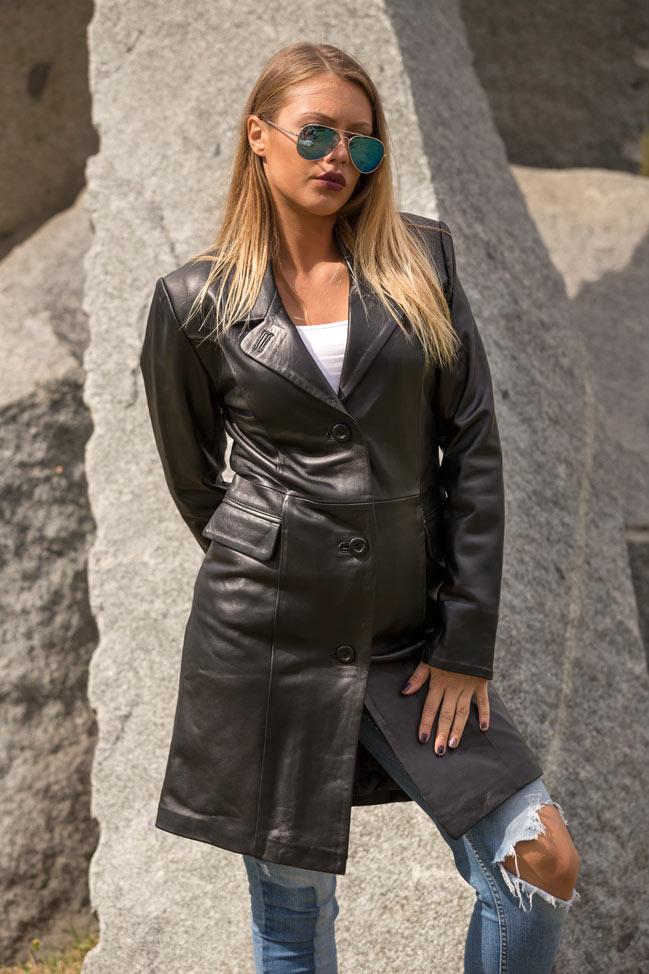 Ženski kožni mantil - Linda - Crna