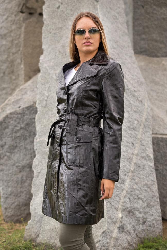 Ženski kožni mantil - Naomi - Crna melirana