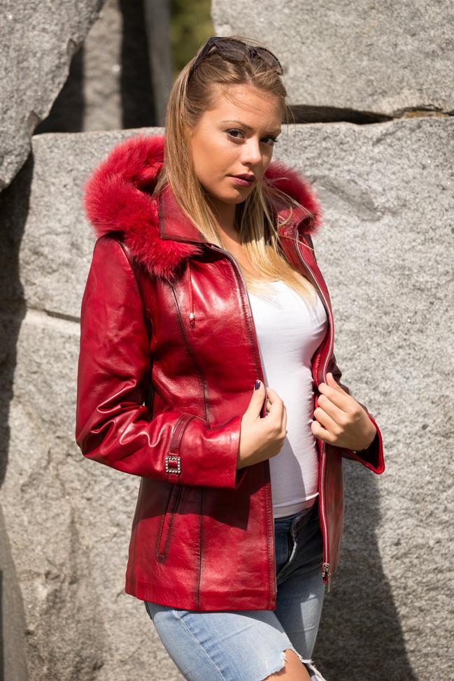 Ženski kožni mantil - Olivia - Crvena melirana