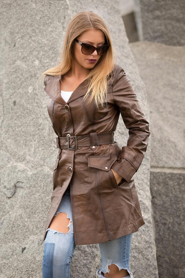 Ženski kožni mantil - Penelope - Braon melirana