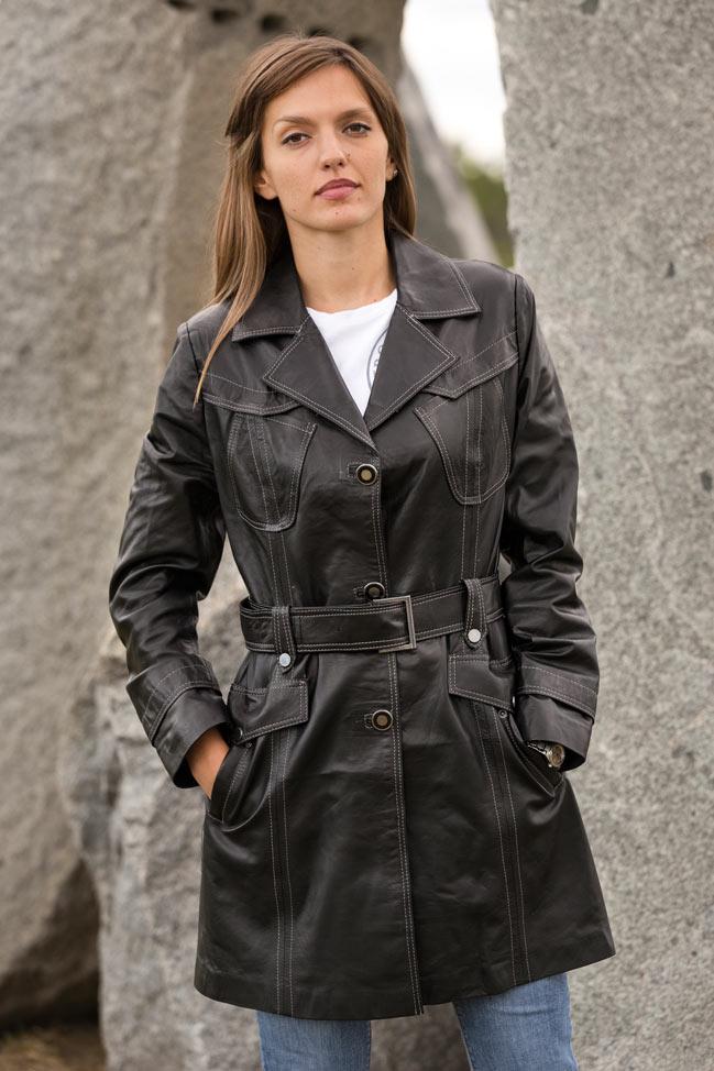 Ženski kožni mantil - Penelope - Crna