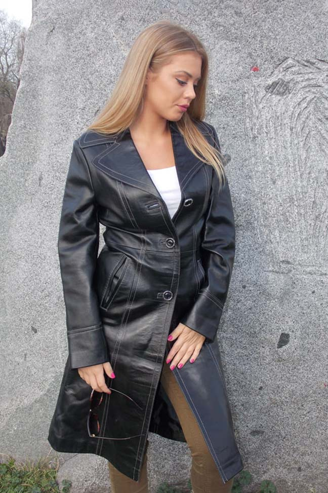 Ženski kožni mantil-Jessica-Crna-1