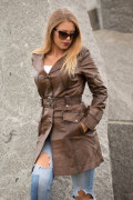 Kožna jakna mantil Penelope braon melirana 2