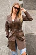 Kožna jakna mantil Penelope braon melirana 3