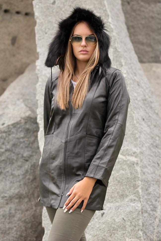 Kožna jakna mantil Betty duža crna 2