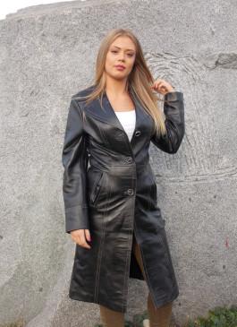 Kožni mantil Jessica (crna)