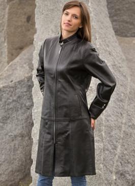 Kožni mantil Katarina (crna)