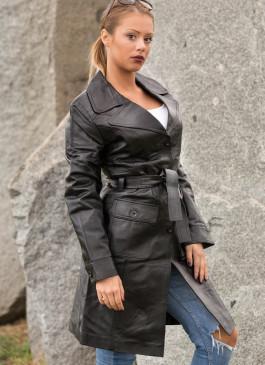 Kožni mantil Naomi (crna)