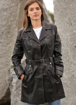 Kožni mantil Penelope (crna)