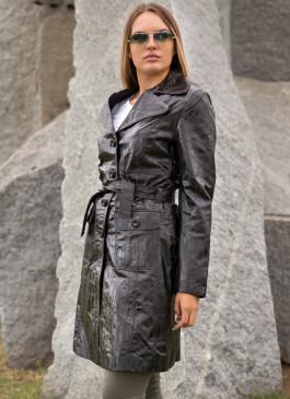 Kožni mantil Naomi (crna melirana)