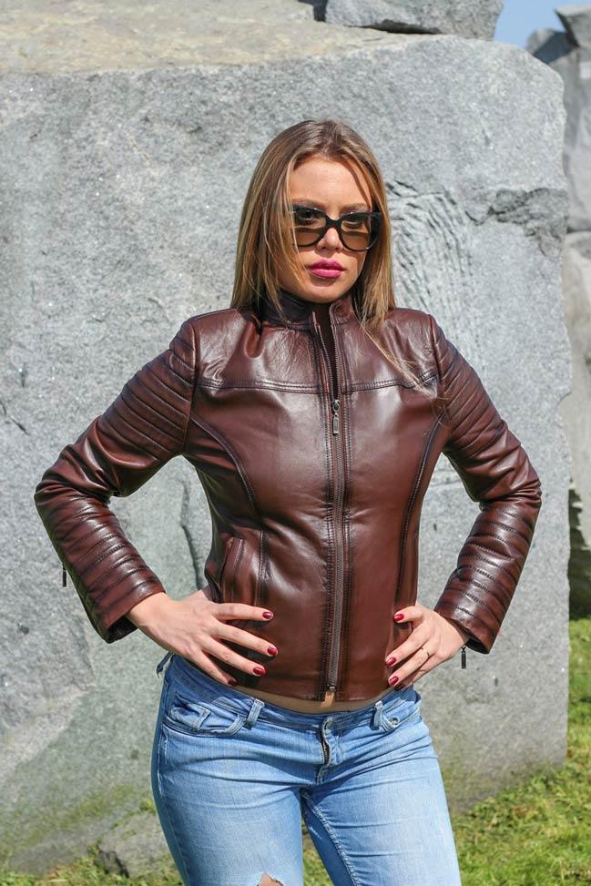 Ženska kožna jakna - Melanie – Tamno braon melirana