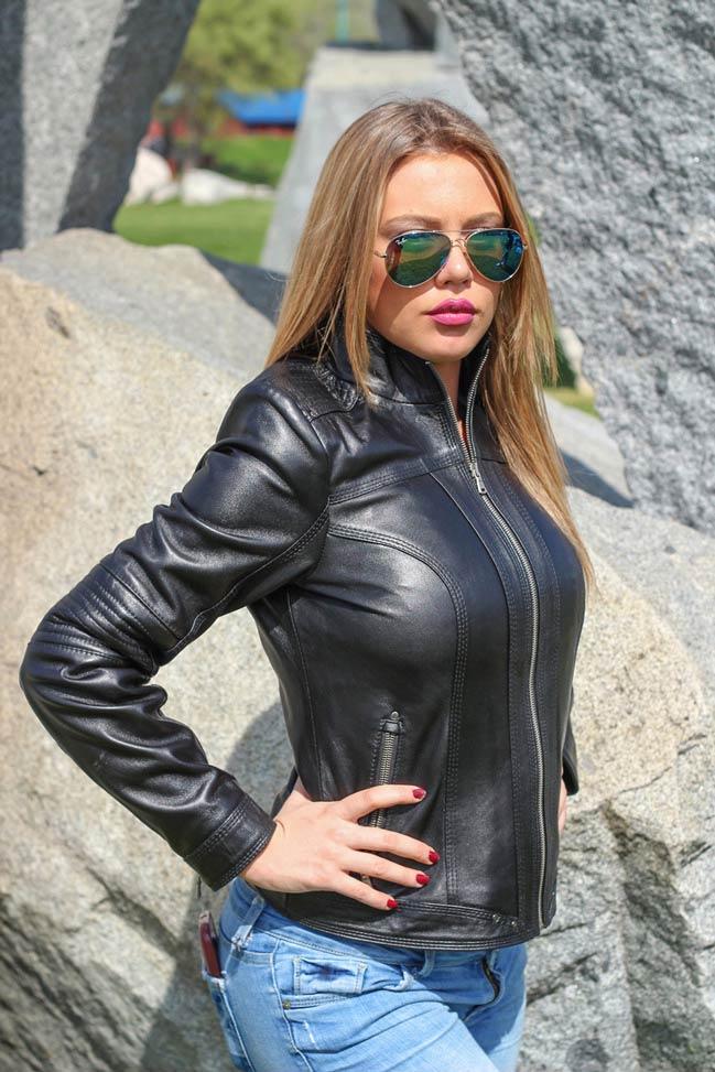 Ženska kožna jakna - Monica – Crna
