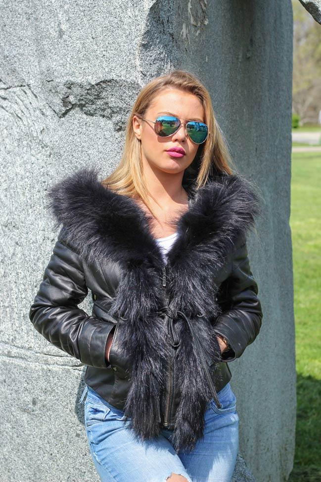 Ženska kožna jakna sa krznom - Stephanie - Crna, crno krzno