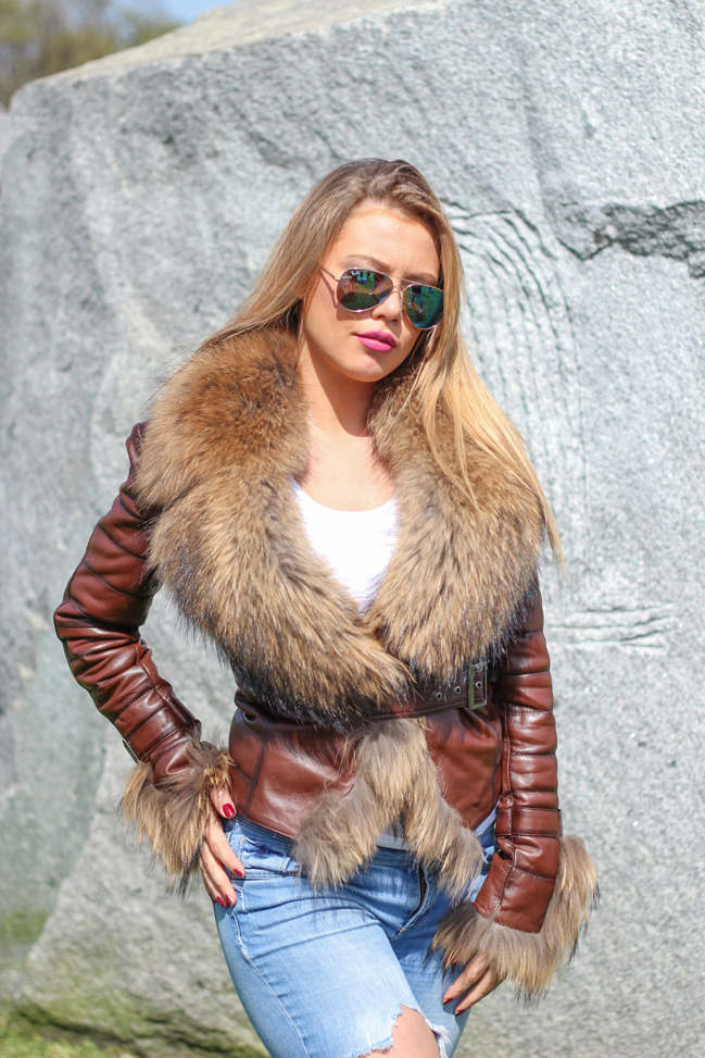 Ženska kožna jakna sa krznom - Vanessa - Braon melirana, natur krzno