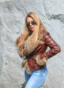 Kožna jakna sa krznom Vanessa (braon melirana)