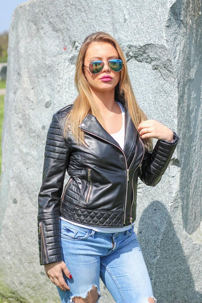 Ženska kožna jakna - Britney – Crna