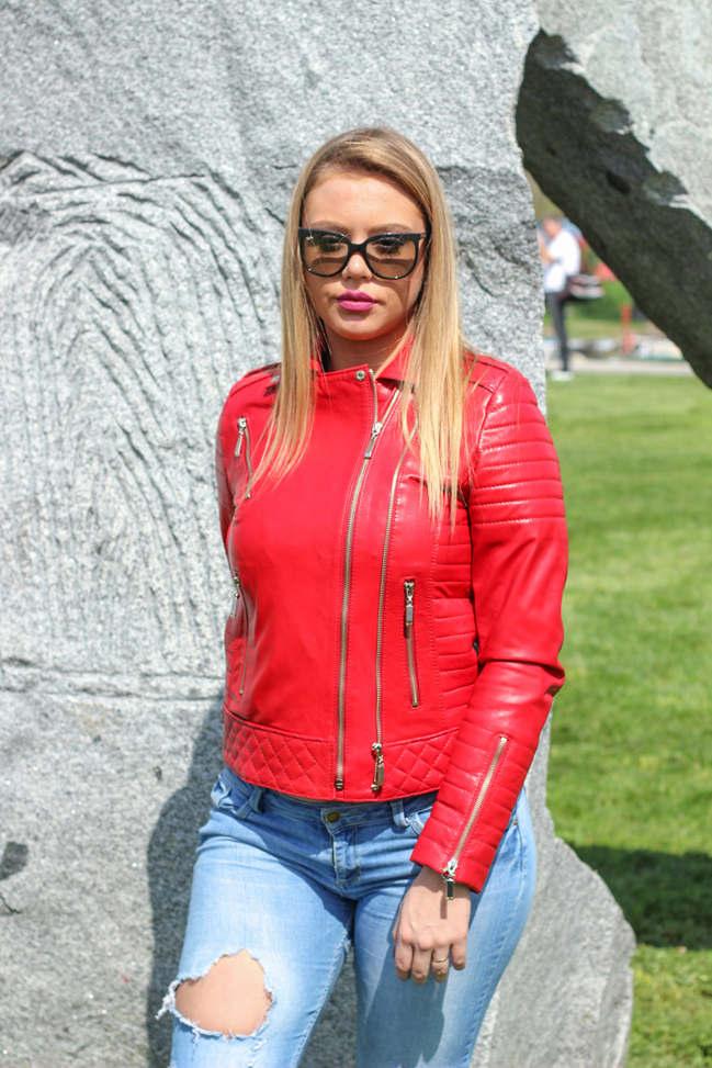 Ženska kožna jakna - Britney – Crvena