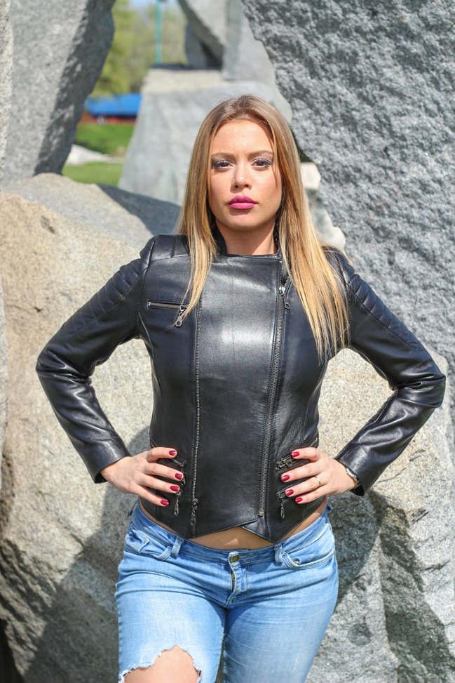Ženska kožna jakna - Cindy – Crna