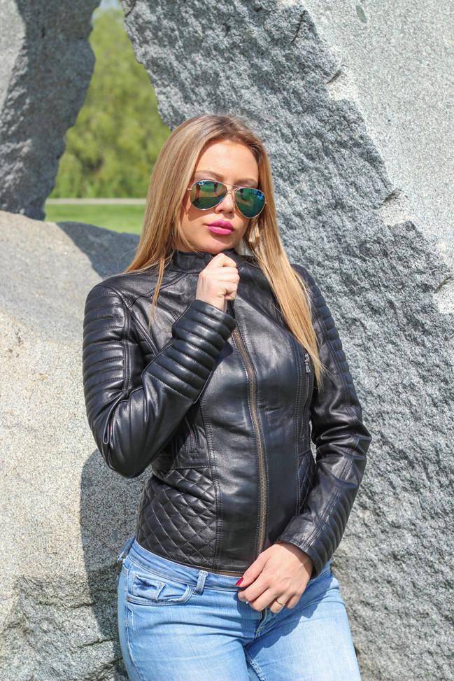Ženska kožna jakna - Cristina – Crna