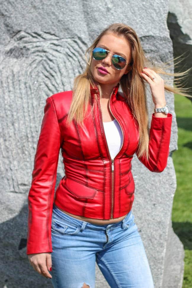 Ženska kožna jakna - Julia – Crvena melirana