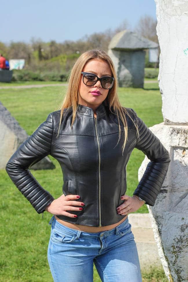 Ženska kožna jakna - Melanie – Crna