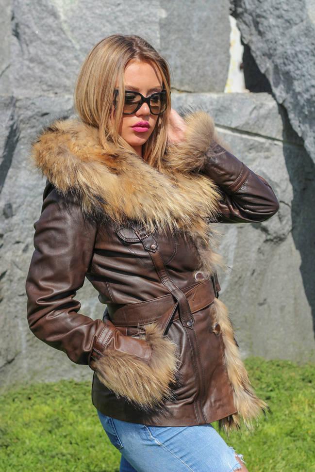 Ženska kožna jakna sa krznom - Isabella - Tamno braon melirana, natur krzno