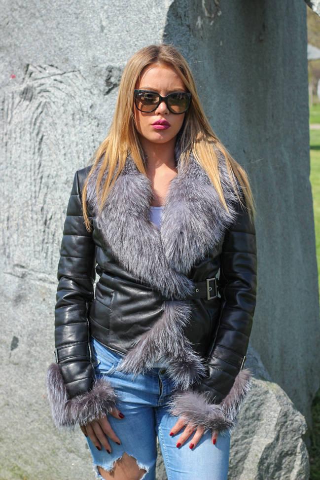 Ženska kožna jakna sa krznom – Vanessa – Crna, krzno polarne lisice