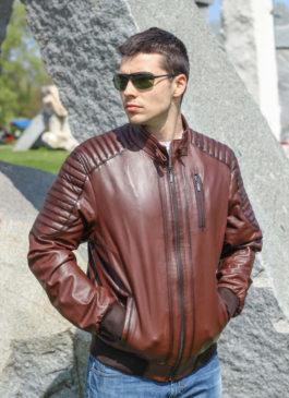 Kožna jakna Becker (braon melirana)