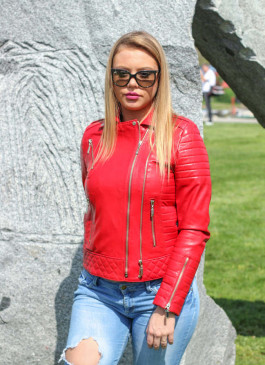 Kožna jakna Britney (crvena)
